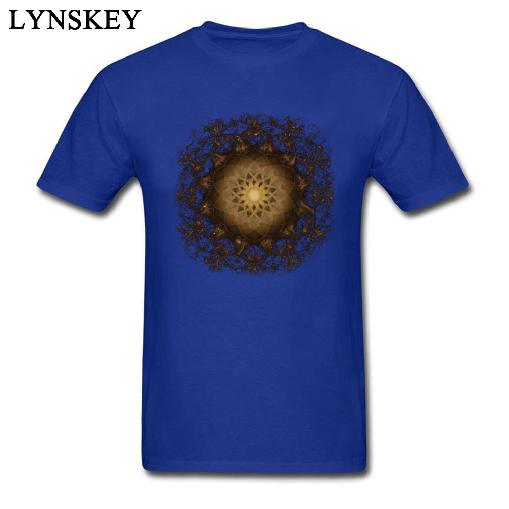 100% Cotton Tops Tees Copper Mandala for Boys Printed On T-Shirt Casual Prevailing Round Neck Short Sleeve Sweatshirts blue