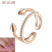 2017 NEW Nail Ring Resizable For Women Channel Tip Mid Finger Rings  Silver color  Zircon Nail Ring Punk Rock Knuckle Rin