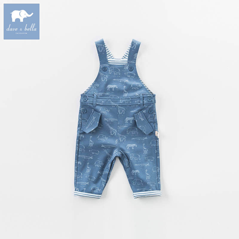 DBM7319 dave bella autumn toddle overalls baby boys 100% cotton overalls infant clothes baby cute overalls<br>