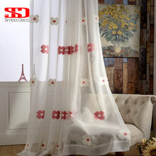 Pink Floral Window Tulle Curtains for living room Towel Embroidery Voile Sheer Cortinas Liner for Bedroom Ready Made Panel(China)