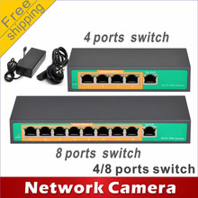 Free shipping 4-port PoE switch 4 +1 Port  8-port PoE switch 8 +1 Port  Switch network cameras powered POE21004P POE21008P