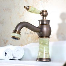 Luxury Antique Brass Solid Brass & Natural jade stone Faucet Basin Sink Bathroom  Faucet Mixer Water Tap with 60cm Hose