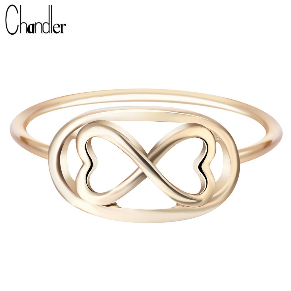 Chandler Sliver  Plated Infinity 8 Eight Knot Rings For Women Eternal Friendship Jewelry Friends Best Gifts Birthday Luxury