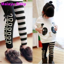 Malayu Baby 2016 Girls Fall Clothing Brand Kids Girls Sequin Panda Style Long Sleeve T-Shirt + Striped Pants 2 Pieces Collection