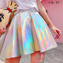 Buy 2018 Summer Silver Harajuku Skirts Womens Solid Holographic Skirt Line Sexy Mini Skirt Zip Women Skirts High Waist Club for $18.08 in AliExpress store