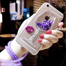 Luxury Wine Cup With Diamond lip Cover + 3D Bling Glitter Quicksand Sand Girl Phone Case For iPhone 6 6S Plus 7 7Plus Free Strap