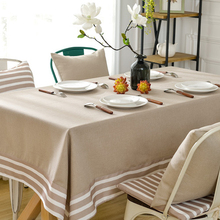 yazi Mediterranean Beige Tablecloth Rectangle Stripe Tablecloths Dust-proof Desk Table Cover Home Decor