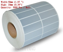 "Blank PET Barcode Labels Width 1.97 "" X High 0.39"" Labels, 5000 Sheet Per Roll, ,Silver Matte;for heat transfer label Printer"