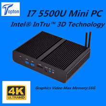 Topton Win7/8/10 Mini pc i7 Barebone Intel Nuc Fanless Comput Core i7 5500U  4K HD HTPC