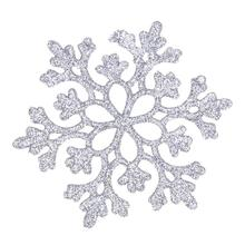 24pcs Snowflakes Christmas 10cm Plastic Glitter Snow Flake Ornaments Christmas Tree Pendant Christmas Decorations for Home(China)