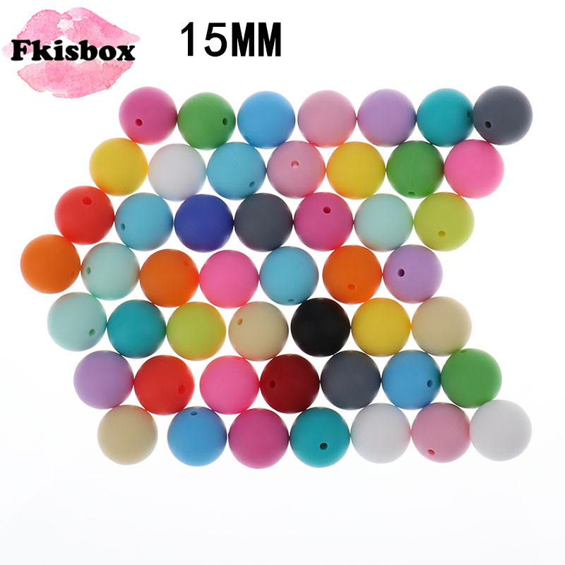 Round Silicone Teething Beads DIY Baby Necklace Teether Making BPA Free 15mm