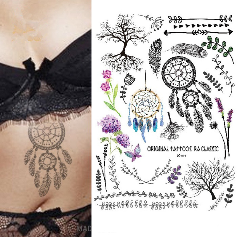 17 new style Multi-style Fashion Cool Temporary Tattoo flash tattoo Colorful dreamcather 21x15cm fake tattoo girl tattoos 2
