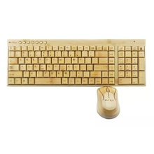 100% Natural Bamboo Wooden Wood PC Multi-media Function wireless Keyboard and Mouse Combo,UK Layout with 109 keys,SKU 01501AC1(China)