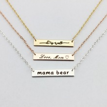 Personalized Engraved Mama Bear Necklaces Bar Pendant Necklaces for Women Monogrammed Letter Bar Necklaces Mother's Day Gift