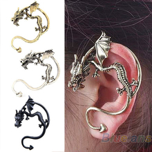 Retro Vintage Black Silver Bronze Punk Temptation Metal Dragon Bite Ear Cuff Clip   Earring Earrings Wholesale Sale 06NI