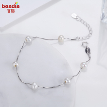 Sample Style 925 Sterling Silver Toggle- clasps Bracelet Freshwater Pearl Temperament Bracelet Women Expensive Jewelry(China)