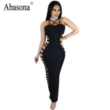 Abasona New women sexy club wear cut out bandage Dress Halter sleeveless sheath bodycon maxi Long dress hollow out party dresses