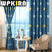 Cartoon Blue Planets Curtains Living Room Custom Made Blackout Kids Curtain Children Cloth Fabric For Boys Bedroom Cortinas 30