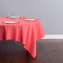 Fedex IE 85 inch/220cm Square Polyester Tablecloth Coral for Wedding Event Banquet Party 20/Pack(China)
