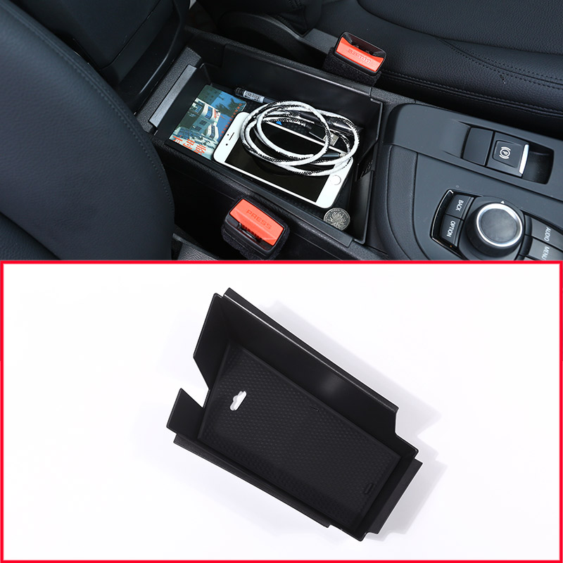 Black Armrest Glove Storage Box Container For BMW X3 F25 2011-2016 For BMW X4 F26 2014-2017