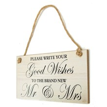 Wedding Good Wishes Hanging Sign Board Marriage Plaque Plank Photo Props Wedding Venues Ornament Events Party Supplies 10*20CM