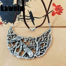 Free Shipping Vintage Filigree Animal Alloy Statement Leather Necklace(China)