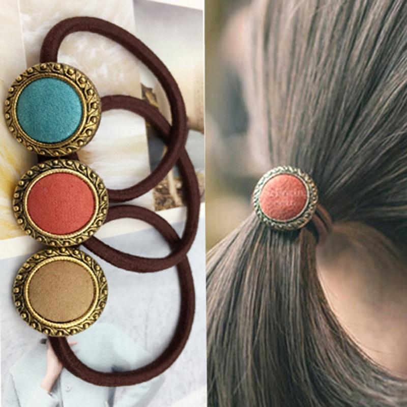 2Pcs Cloth Button Flower Button Hair Clips Girl Korean Style Hair Holders Rubberbands Elastics Tie Gum Hair Accessories Random