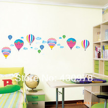 QZ1138 Free Shipping Colorful Hot Air Ballone Blue Sky Cloud Removable PVC Wall Stickers Fancy Home Decoration Gift