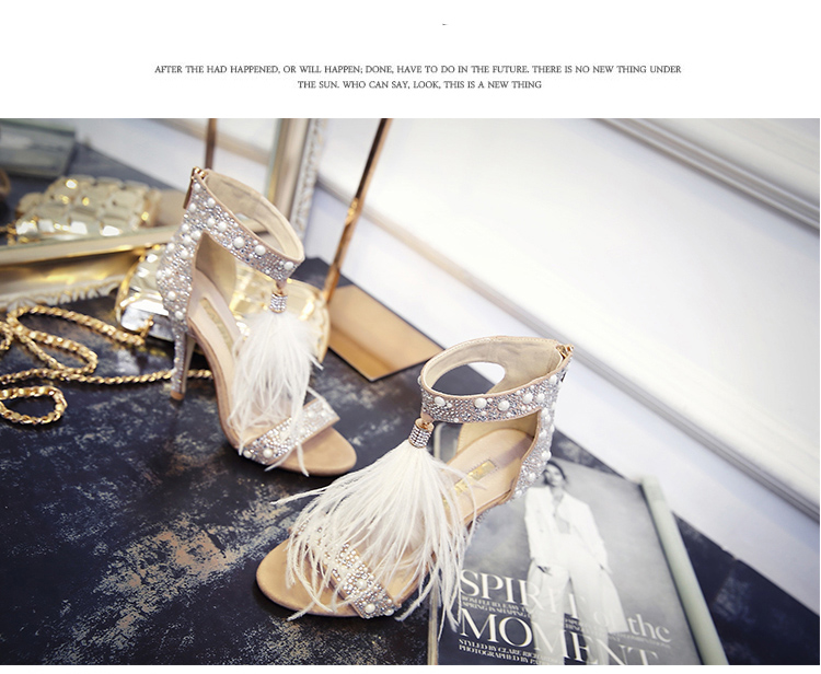 Genuine Leather Women Sandals Summer Shoes High Heels Brand Fur Rhinestone Feather White Woman Wedding Shoes Heels Plus Size 36 13