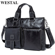 WESTAL genuine leather men's briefcase luxury man bag satchel messenger bags men laptop vintage men briefcase bag for dokuments(China)