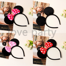1pcs Mickey Minnie Theme Black Mouse Ear Headband Cute Kids Favor Dots Hair Bows Frog Style 4Cls Headbands Cloth Birthday Party