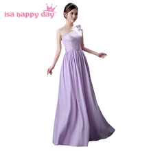country lilac long elegant one strap bridemaids dresses chiffon lace up dress for bridesmaid gowns light purple under 50 H4122(China)