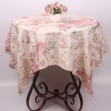 New Arrival Pink Floral Tablecloths Vintage Polyester Cotton Blend Christmas Table Cloth Rectangular Square Wedding Table Covers