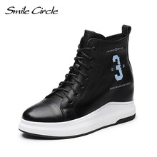 Smile Circle Cow Leather Wedges Sneakers Autumn Ankle Boots Women Lace-up Platform Shoes Height increase 7cm High-top shoes(China)