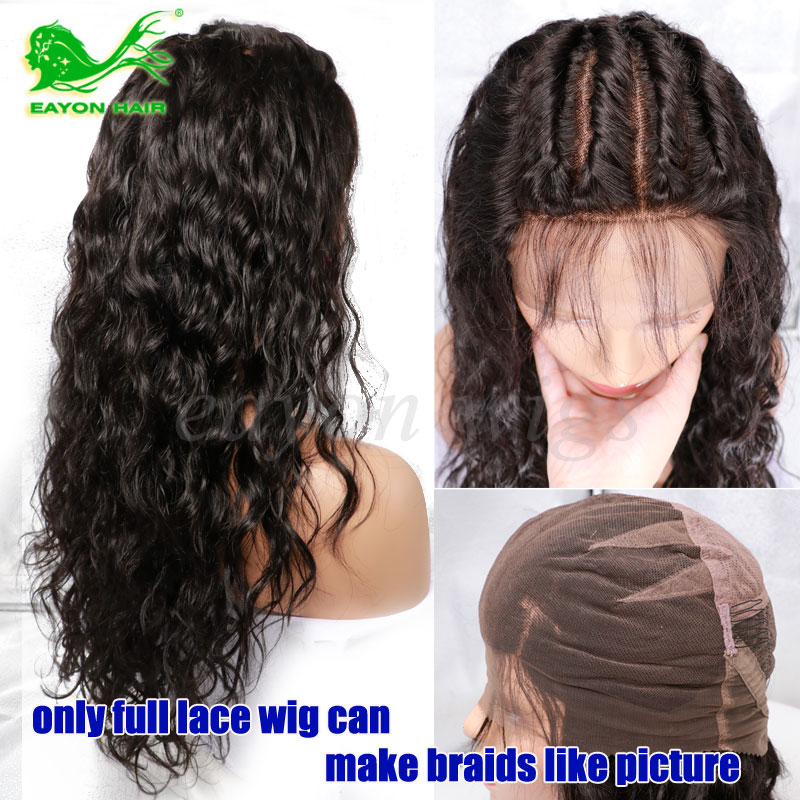 Brazilian Full Lace Human Hair Wigs With Baby Hair Wavy Braiding Lace Front Wigs For Black Women Glueless Full Frontal Lace Wigs<br><br>Aliexpress