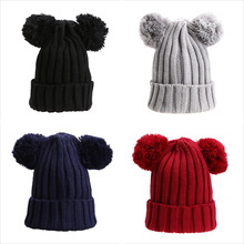 Dual Ball Knitted Baby Caps Double Giant Pom Pom Boys Girls Toddler Crochet Beanie Hairball Ear Baby Hat Cute Children Caps