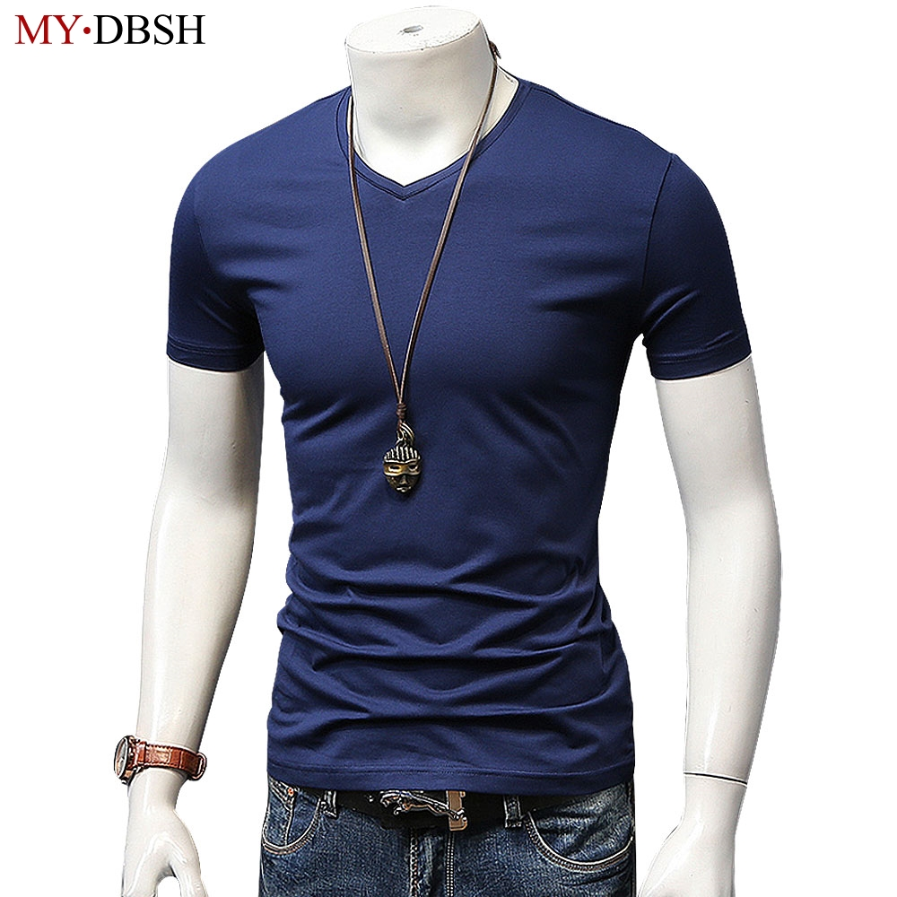 New 2018 Summer High Short Sleeve Men's T-shirt Casual V Collar Fashion Cotton t shirt Male Tops Tee Free