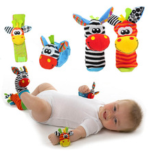 New Design Sozzy Baby Boys Girls Toy Baby Rattle Animal Foot Finder Socks Wrist Strap Soft Children Infant Newborn Plush Sock(China)