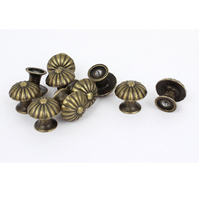 10PCS 18*17MM Vintage Small Case Cabinet Cupboard Drawer Pull Handle Dome Knob Jewelry Box Mini Decorative Knobs Bronze(China)