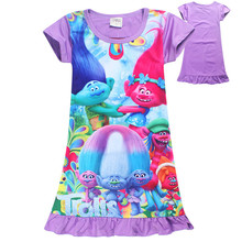2017 Trolls Poppy Dresses For Girls Night Sleep Dress Children's Clothing New Grown Party Forest Trolls Poppy Cosplay Dress(China)