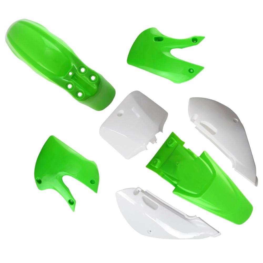 TDR Dirt Bike Plastic Fairing Kits Fenders for Kawasaki KLX 110 DRZ 110 KX 65 Green<br>