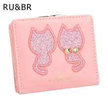 RU&BR PU Leather Women's Wallet Short Section 2 Fold Solid Color Womens Wallets Lovely Embroidery Cat Pattern Small Wallet