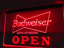 LE113- OPEN Budweiser Beer NR Pub Bar LED Neon Light Sign