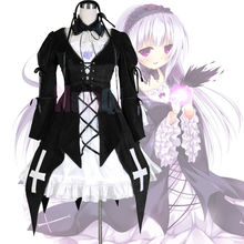 Rozen Maiden Suigintou Mercury Lampe Gothic Lolita Black Dress Cosplay Costume dress+headband+neckband+purple flower