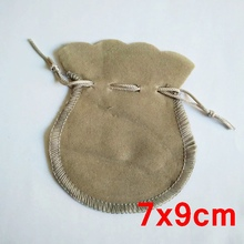 100piece lot Grey Gray Drawable Velvet Pouches 7x9cm Gift Bags for Jewelry Packaging Free Shipping VEP007(China)