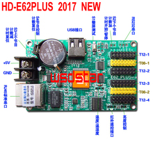 HD-E62PLUS LED display control card Single & Dual color LED control card Ethernet & USB port 2*HUB08 & 4*HUB12 3pcs/lot(China)