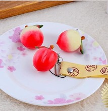 30pcs-5CM PVC simulation red Peaches chain strips/phone charms / bag charm / phone straps.with tag