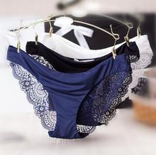 Buy Plus Size S - XXL Women Sexy Lace Panties Transparent Female Seamless Underwear Briefs Cotton Lingerie Knickers Tangas Bragas