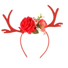 Women Personality Deer Horn Ear Flower Headbands Girls Hairbands Hair Clips Hand Made For Christmas Party Photo Shoot