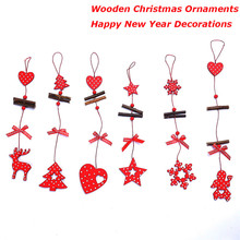 Lovely Wooden Pendant Christmas Ornaments For Home Gift Wall Hanging Cute Christmas Tree Decorations(China)